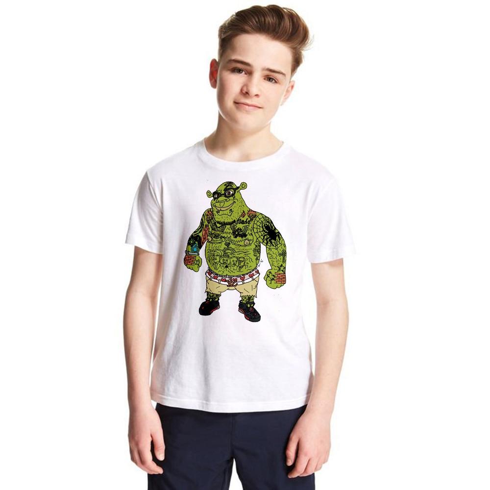 2018 New Children Shrek Cartoon Design Tops Boys/Girls Casual T Shirt Kids Cool White T-Shirt Summer Tees Toddler Clothing