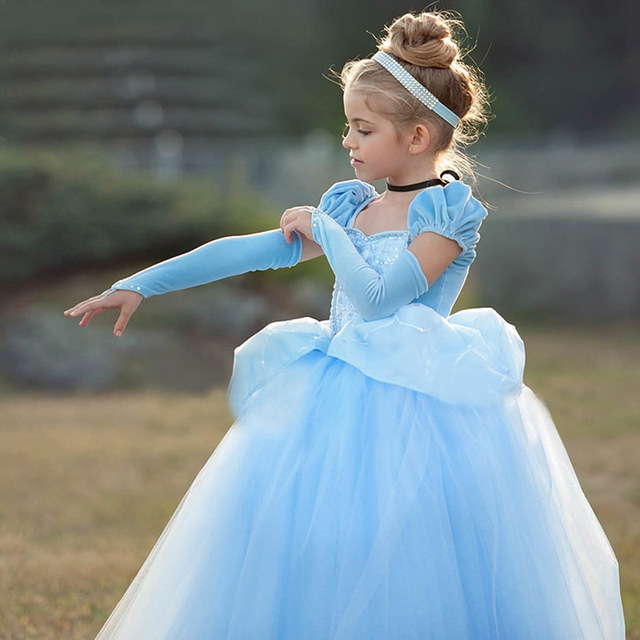 Girls Cinderella Dress up Cosplay Costumes Kids Puff Sleeve Embroidery Blue Clothes Child Christmas Birthday Princess
