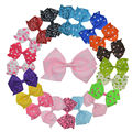 "20pcs 4.5"" Baby Girl Big Dot/ Floral Ribbon Pinwheel Hair Bows with Clip for Girls Kids Hair Clips Korea Hair Accessories XC1880"