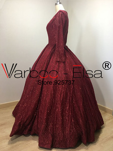 Image 2 - VARBOO_ELSA Bling Bling Red Sequin Evening Dresses 2018 Real Photo Long Evening Dresses V neck Ball Gown Party Dress Custom Made