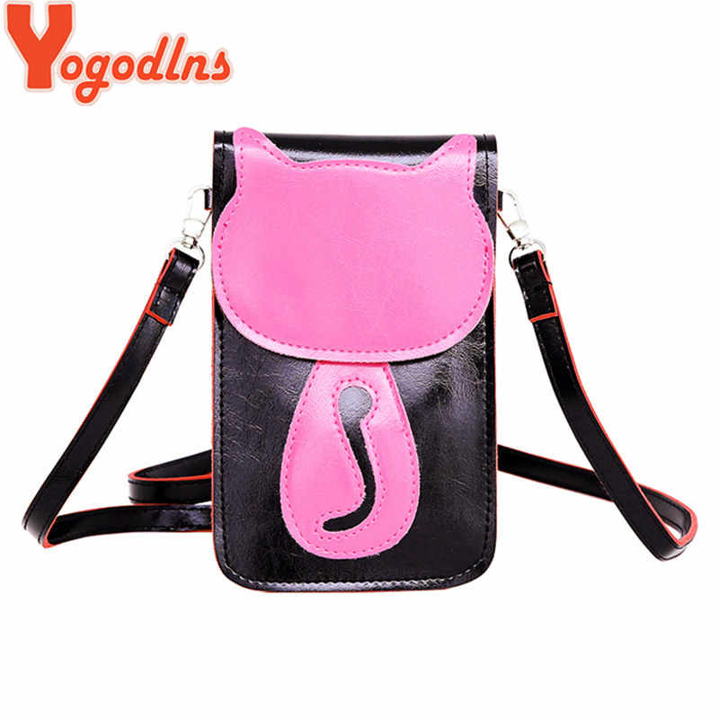 aa30368211 Yogodlns 2019 Women Messenger Bags Lovely Cute Cat Charcater Leather Small Crossbody  Bag Fashion Casual Shoulder