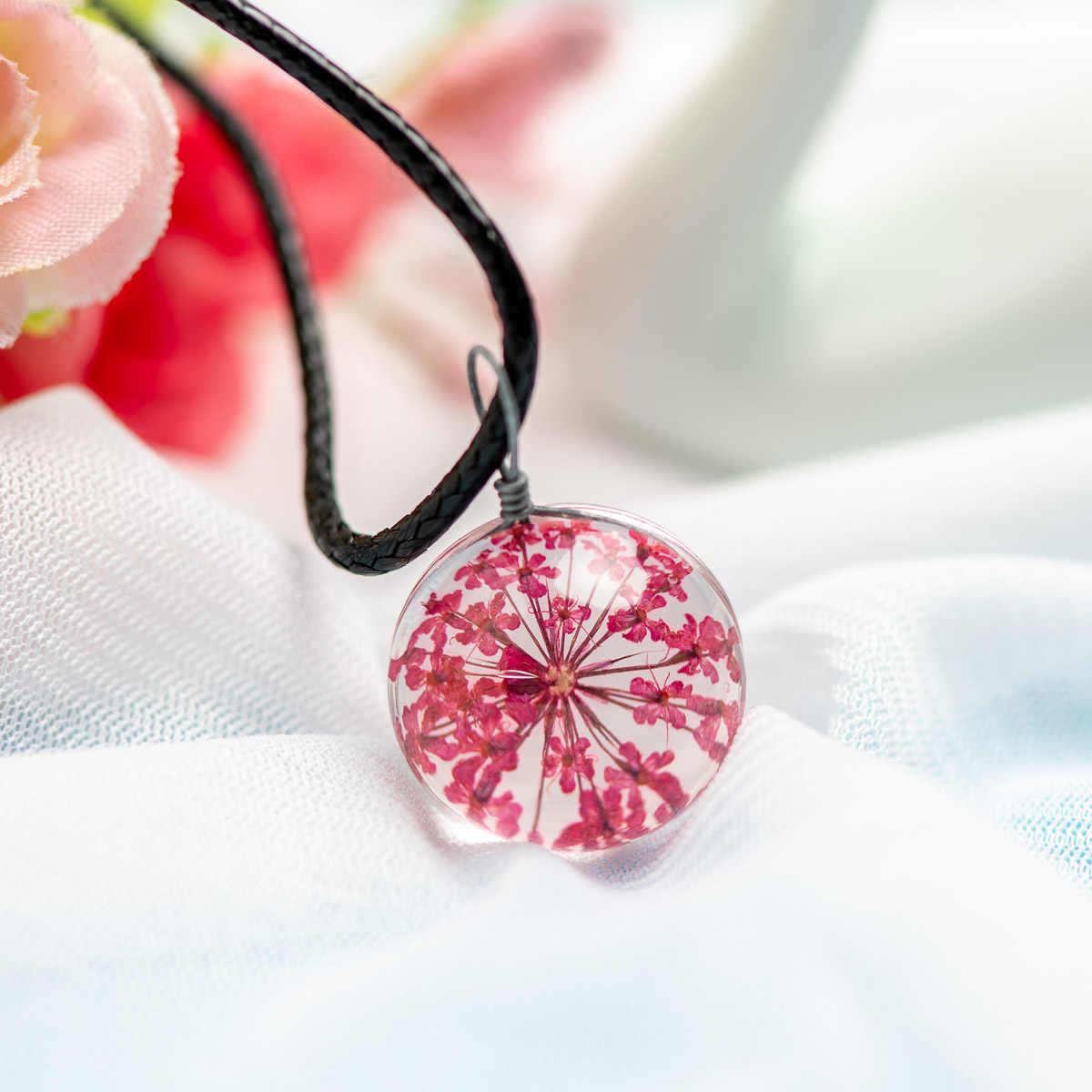 天然のタンポポ種子と葉ガラスペンダントネックレスチャーム女性時間宝石ネックレス # DY507
