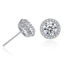 New Round Crown Zircon Crystal Stud Earrings For Women Accessories Earings Fashion Jewelry 2019 Wholesale