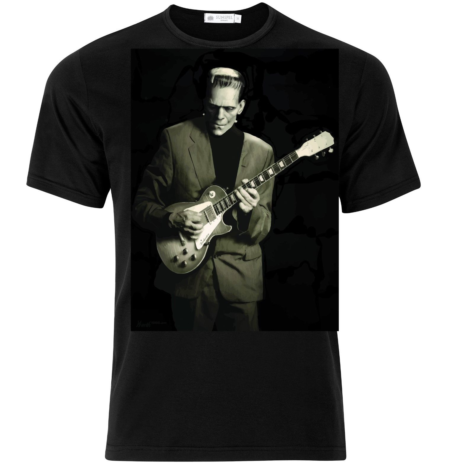 Herman Munster Frankenstein Guitarist Guitar Rock Blues Music Funny T.Shirt image