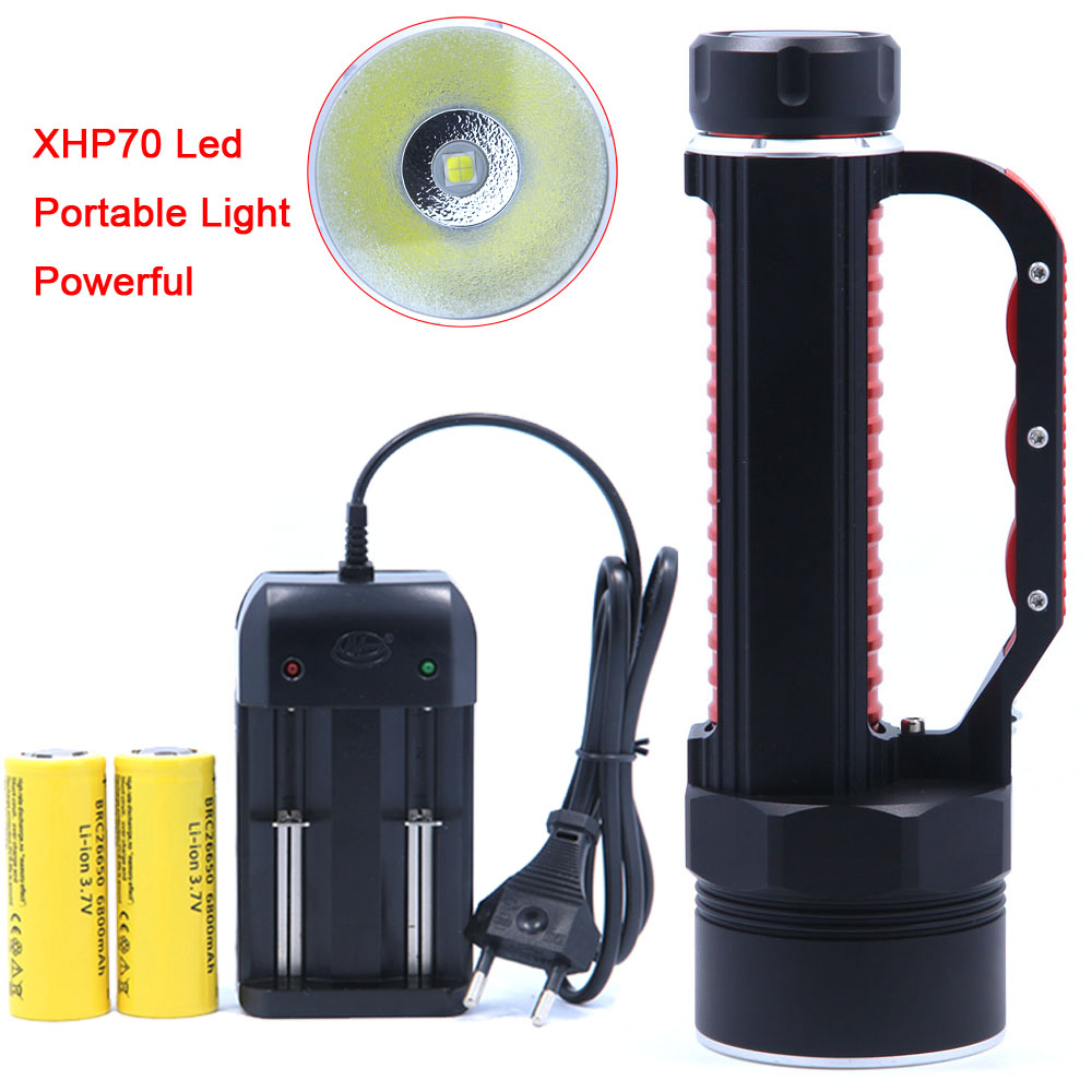 2018 New Portable Light LED Flashlights 4000 lumens XHP70 LED Flashlight Torch 26650 Rechargeable Batteries Torch Searchlight