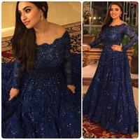 בתוספת שמלות ערב גודל כחול כהה אלגנטי שרוול ארוך סלבריטאי שטיח אדום מסיבת אורך קומת קו תמונה בפועל