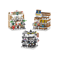 Hot City Mini Street View International Office Building Block Starbuck 7day Hotel Streetscape Model Bricks Toys