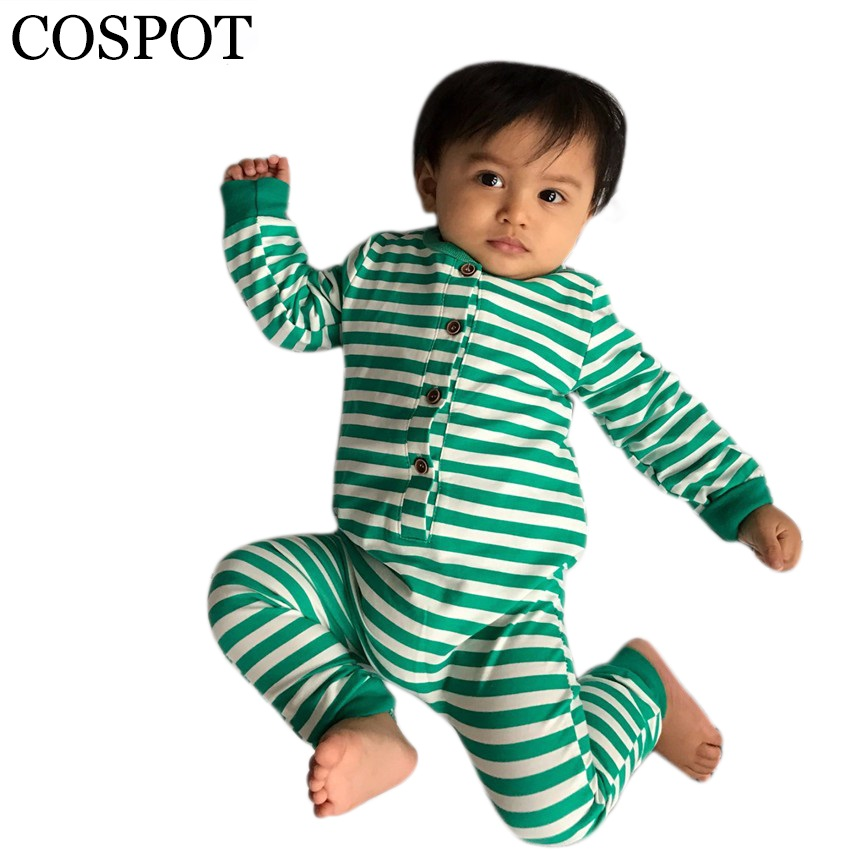 COSPOT Baby Christmas Romper Boys Girls Autumn Harem Jumpsuit Newborn Cotton Tank Rompers Kids Striped Pajamas 2017 New 20F warm thicken baby rompers long sleeve organic cotton autumn