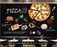 Custom 3D Wallpaper Black Hand-painted Italian Pizza Shop Western Restaurant Wall - High-grade waterproof material
