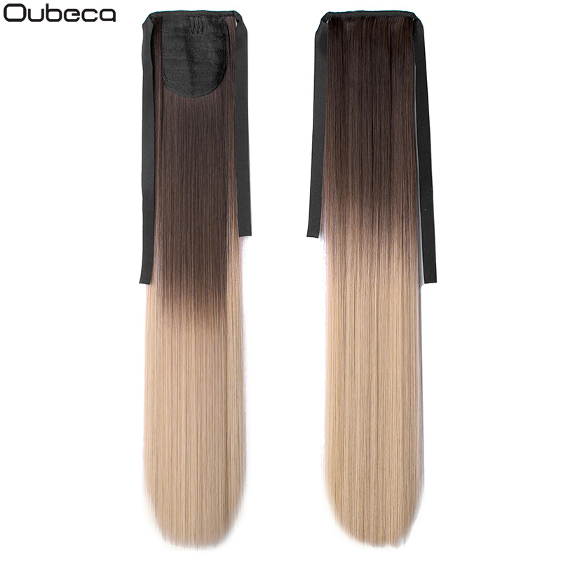 Oubeca 22 Inches Synthetic Ombre Ponytail Straight Long Two Tone Ribbon Pony Tail Hair Piece Clip In Hair Extensions For Women
