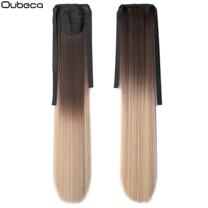 Oubeca 22 Inches Synthetic Ombre Ponytail Straight Long Two Tone Ribbon Pony Tail Hair Piece Clip In Hair Extensions For Women(China)