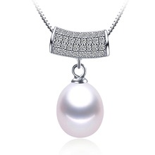 Unique 925 silver necklace&pendant 2016 trendy freshwater pearl necklace 9-10mm big size pearl jewelry 3 colors