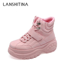 купить 2019 Fashion Casual Women Shoes Autumn Thick bottom High Platform Ankle Boots Comfortable Soft White Sneakers Winter Boots Woman дешево