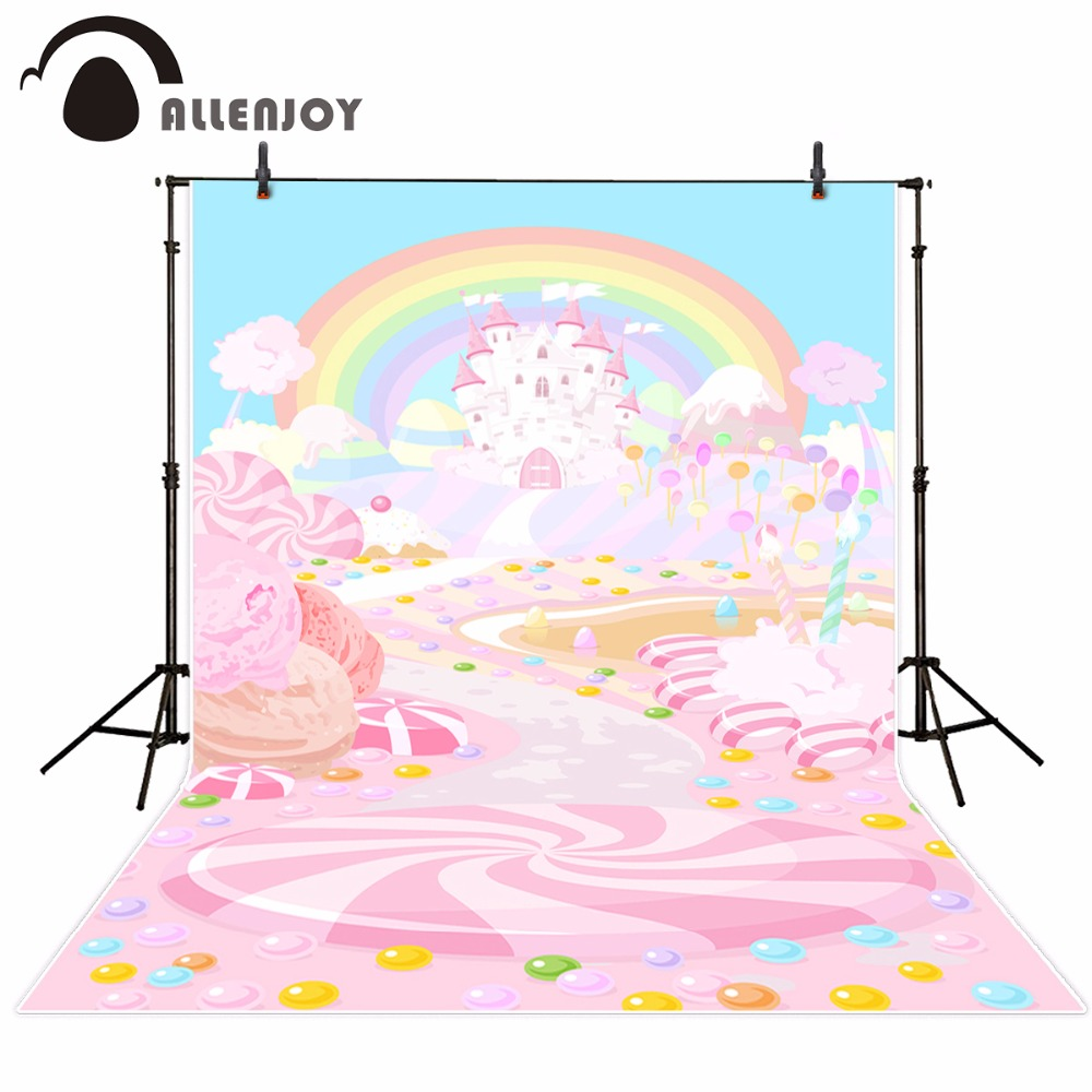 Allenjoy photography background pink candy castle cartoon baby rainbow fairy tale photo backdrop vinyl photography studio