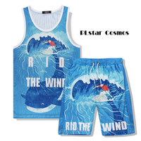 PLstar Cosmos 2017 Summer Mens vest Men Beach Tank Tops Animal Whale 3d Print Breathable quick drying vest + shorts Set