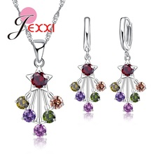 JEXXI Multicolor Crystal Imitated Gemstone Wedding Jewelry Sets Silver Color Pendant Necklace Earrings Set Jewelry Set