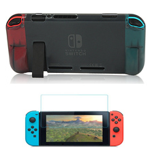 For Nintend Switch NS Console Comfortable Soft TPU Grip Case and Ergonomic Protective Cover Holder + Tempered Screen Protector