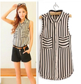 Vertical Stripe Sleeveless Shirt Women Spring 2015 New Arrival Women Blouse