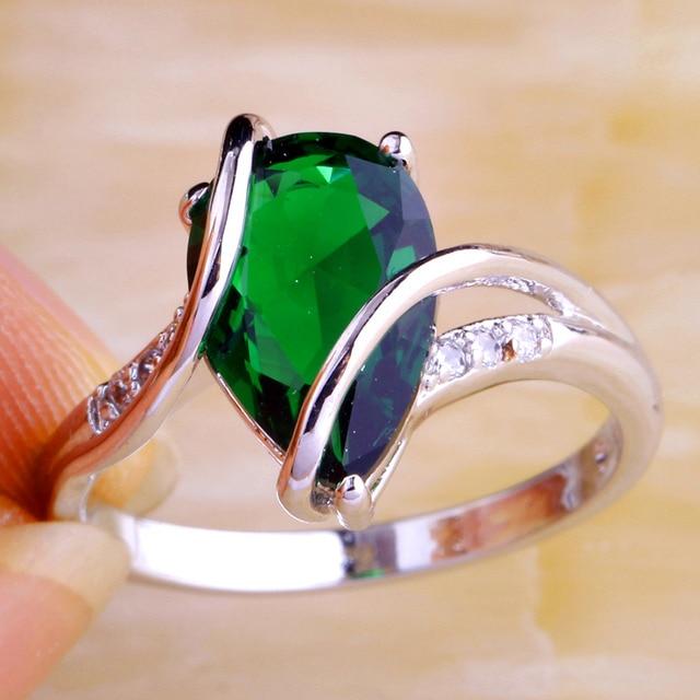 lingmei Wholesale Fashion Popular Green White CZ Silver Ring Size 6 7 8 9 10  Luxury Nice Jewelry For Women Free Shipping