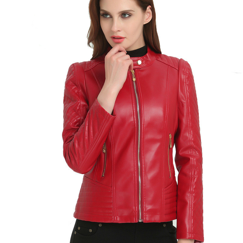 New2018 Autumn/winter Faux   Leather   Clothing Lady Pu Motorcycle   Leather   Jacket Fashion Casual   Leather   Top Plus Size 6XL Hot Sale