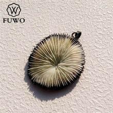 FUWO الطبيعي الأحفوري المرجان المعلقات الأسود بندقية مطلي الخام البحرية المرجانية قذيفة مجوهرات الأزياء صنع الجملة PD515