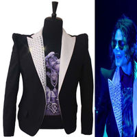 Formal dress Classic England Style MJ MICHAEL JACKSON Costume This is it Jacket Informal Crystal Suit Blazer For Fans
