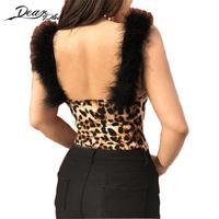 Sexy Ladies Leopard Wydrukowano Body Kobiety Swetry I Bobasów Kombinezony Skinny Slim Scoop Backless Body Fitness Body Suit