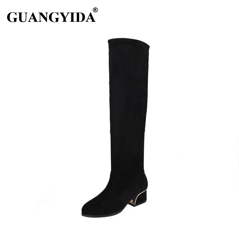 ФОТО 2016 women winter botas femininas warm boots flat over knee boots lady shoes snow boots N37
