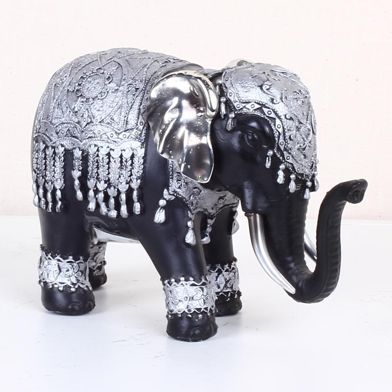 Handmade Small Vintage Lucky Elephant Decoration Home Decoration Polyresin Craft Black Resin