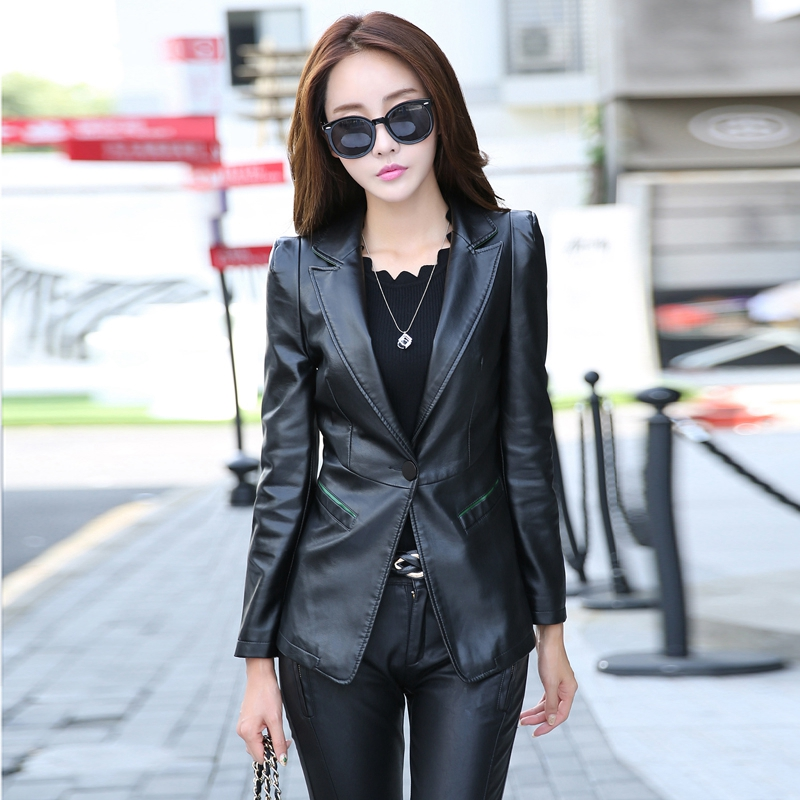 SWREDMI Women's   Leather   Blazer One Button   Leather   Coat For Girls Work To Wear 2019 Spring V-Neck Clothing Outerwear Black Jacket