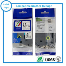 24mm black on white brother tze tape flexible ID tape for p touch maker tze fx251 tze-fx251 tz fx251 tz-fx251 for PT-H500