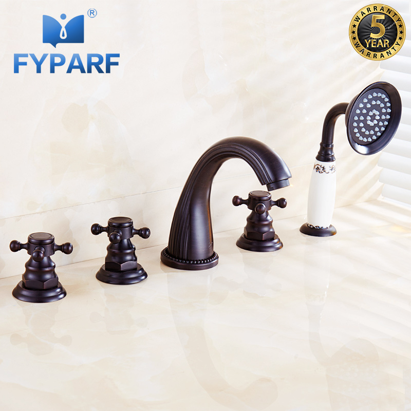 FYPARF Bathtub Faucets Bath Shower Bathroom Shower Faucet Taps Set 5 Holes Waterfall Brass Oil Rubbed Bronze Bath Faucet Mixer microsoft office 365 для дома расширенный подписка на 1 год [цифровая версия] цифровая версия