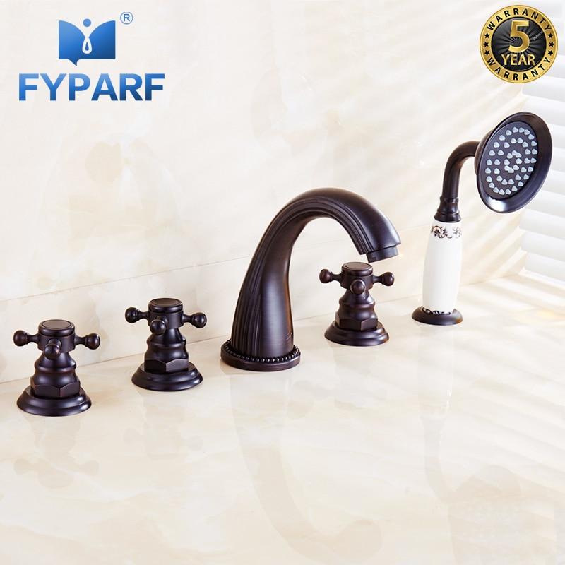 FYPARF Bathtub Faucets Bath Shower Bathroom Shower Faucet Taps Set 5 Holes Waterfall Brass Oil Rubbed Bronze Bath Faucet Mixer диккенс ч приключения оливера твиста дом чтение
