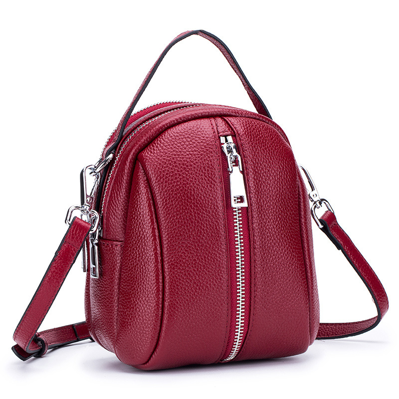 Genuine Cow Leather Women Small Shoulder Crossbody Bags Ladies Mini Messenger Bag Double Zipper Pockets Girls