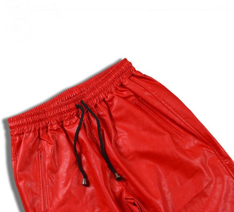 PU Leather Pants Men Elastic Waist Plus Size Side Zipper Hip Hop Leather Trousers Fashion Kanye West Justin Bieber Style Pants (3)