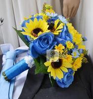 פרח מלאכותי בעבודת יד חתונה צהוב כחול חמניות דייזי פרח כלה מחזיק פרחים