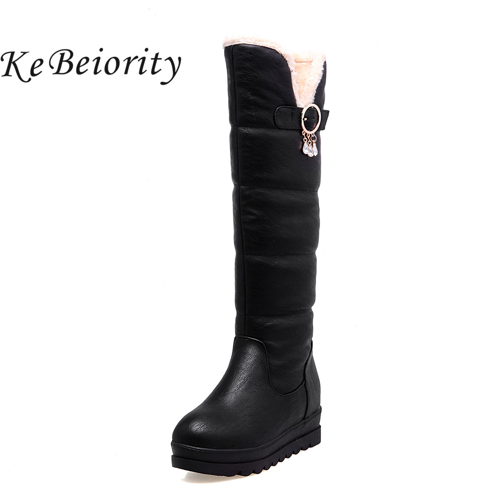 Details about women luxury diamond fashion snow boots rabbit fur boots - Kebeiority Plus Size Women Boots 2017 Knee High Boots For Women Flats Red Black White Boots