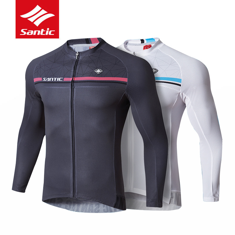 Santic Men Long Sleeve Cycling Jersey Pro Fit MTB Road Bike Top Jerseys Mens Breathable Bicycle Riding Outdoor Sport Clothings