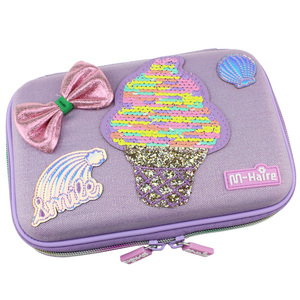 Image 1 - New style kawaii ice cream school big pencil case cute paillette girl pen bag new me box pencil cases for girls back to school
