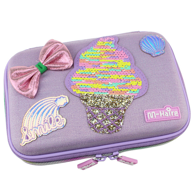 New style kawaii ice cream school big pencil case cute paillette girl pen bag new me box pencil cases for girls back to school