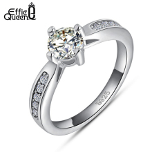 Effie Queen New Trendy Platinum Plated Ring with AAA Grade Zircon Fashion Women Wedding Ring Engagement Ring Wholesale DR05