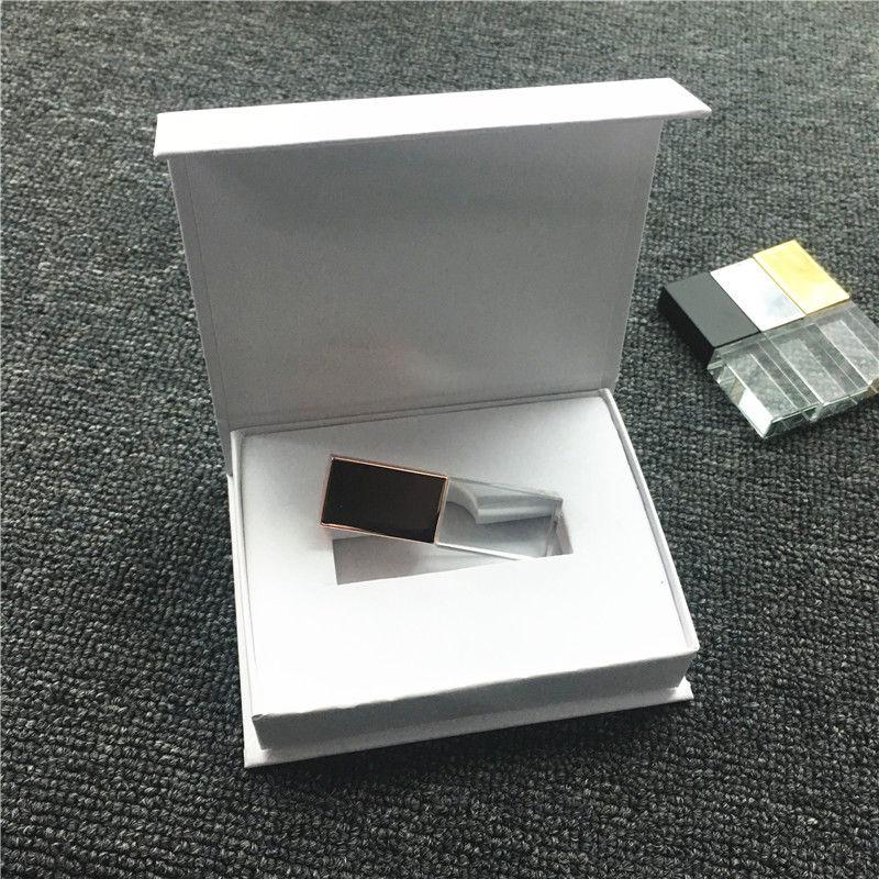 Novo Cristal LOGOTIPO Personalizado Usb 2.0 GB de Memória Flash Drive com Caixa de Presente 2 4 GB GB 16 8 GB 32 GB 64 GB (caixa branca ou preta)