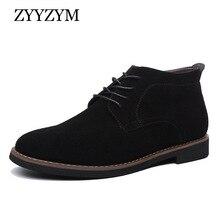 ZYYZYM Mens Boots Autumn Winter Boot Men Lace-Up Style Fashion Nubuck leather Plush Warm Man Chelsea Zapatos De Hombre