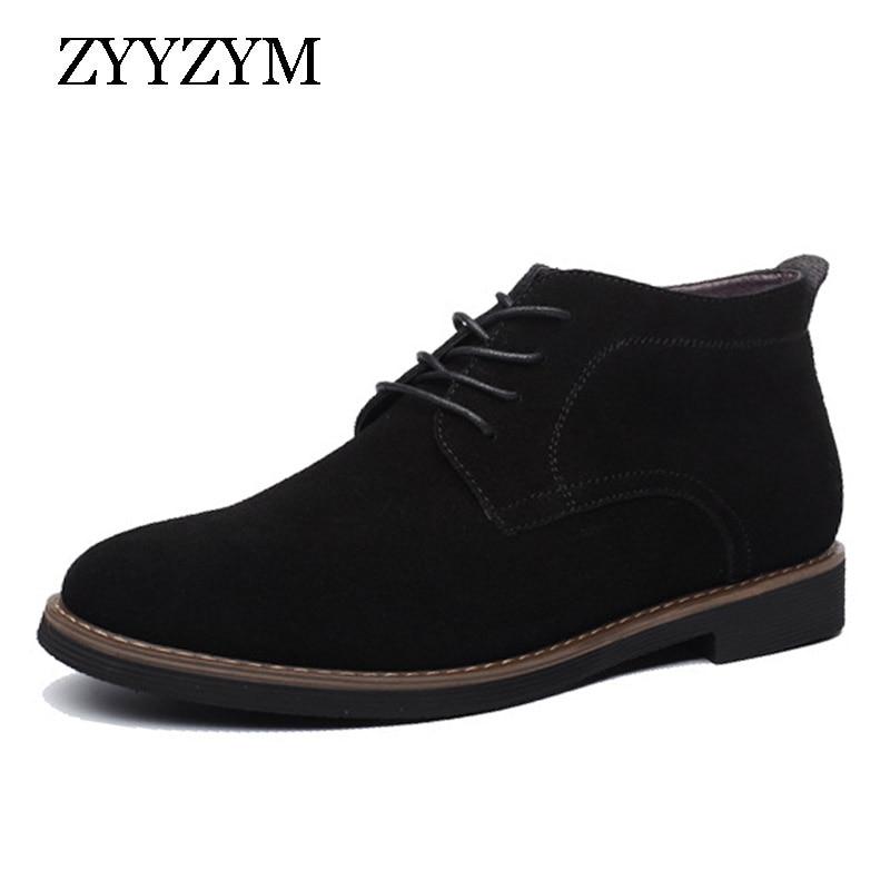 ZYYZYM Mens Boots Autumn Winter Lace-Up Style Fashion Nubuck leather Plush Warm Man Chelsea Boots
