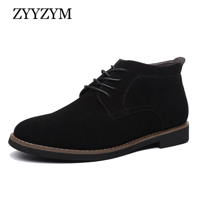 ZYYZYM Mens Boots Autumn Winter Lace-Up Style Fashion Nubuck leather Plush Warm Man Chelsea Boots
