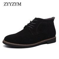 ZYYZYM Mens Boots Autumn Winter Lace Up Style Fashion Nubuck leather Plush Warm Man Chelsea Boots
