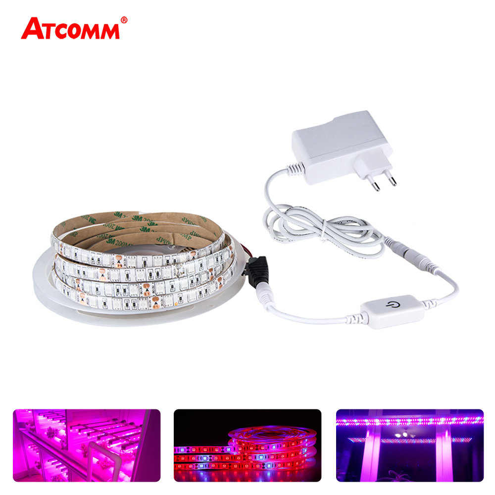 5M LED Grow Lights 5050 LED Strip Light Full Spectrum LED Phyto Lamps Fitolampy With DC 12V Power Adapter Touch Switch