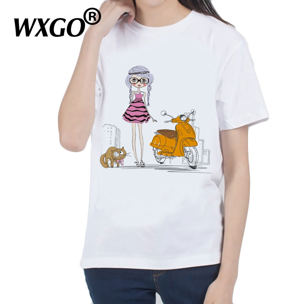 Girl Female T-shirt Summer 2019 Short Sleeve Tee White T Shirt with Print Women Tshirt Harajuku Kawaii Graphic Tees Women Tops