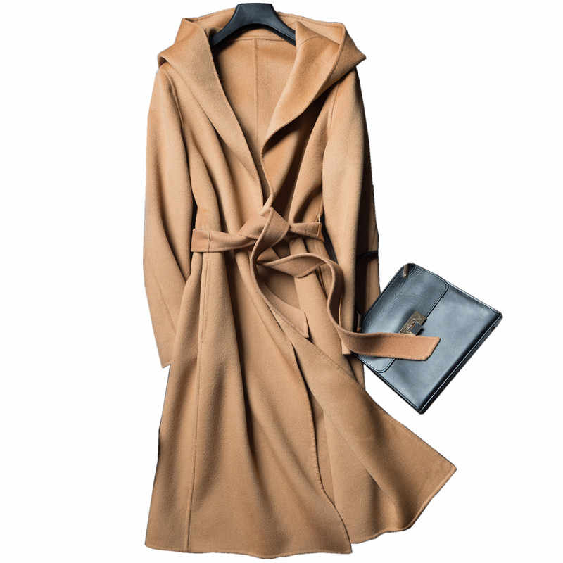 2019 Autumn and Winter Pure Wool Coat It Moman Casual Hooded Cardigan Handmade Cashmere Double-Sided Jacket
