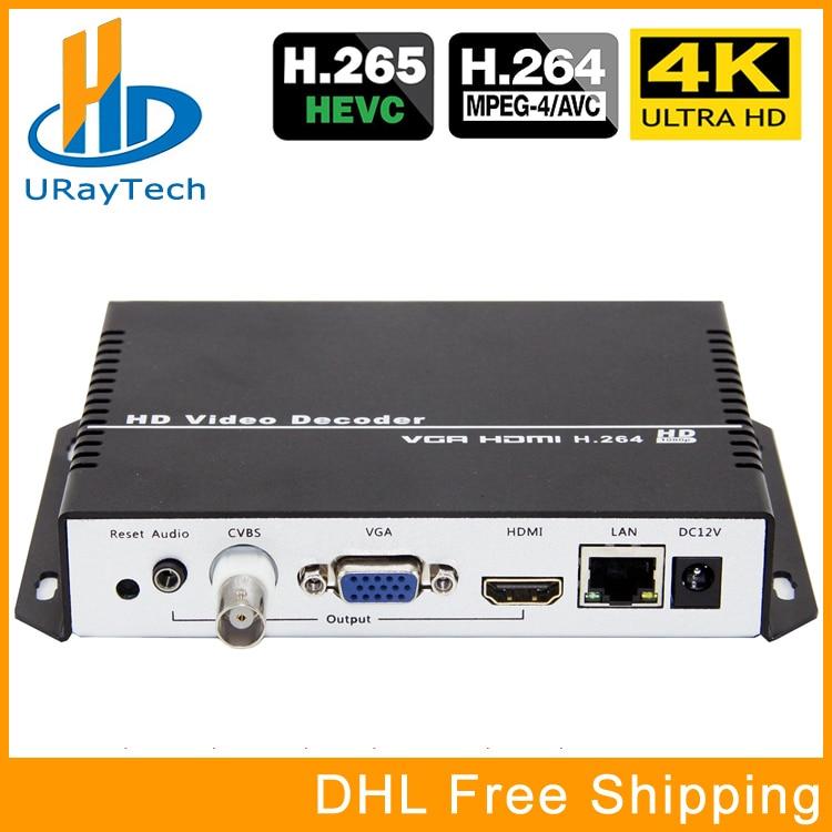 UHD 4 K H.265 H.264 HDMI VGA CVBS Decoder HD SD Video Audio IP Streaming Decoder HTTP UDP RTMP RTSP HLS A HDMI VGA CVBS Ricevitore